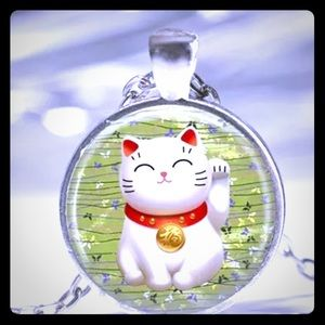 Lucky Chinese Cat Pendant &  Chain Set! Brand New!